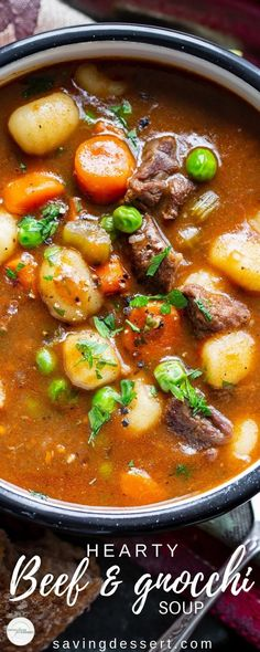 Hearty Beef and Gnocchi Soup is a warming and delicious chunky soup worthy of an entire meal. Serve with crusty bread to sop up all the delicious broth! #savingroomfordessert #heartystew #heartysoup #soup #beefsoup #vegetablebeefsoup #gnocchisoup Gnocchi Soup, Healthy Soup Recipes, Beef Recipes, Recipe Collection, Chowder, Food To Make, Soups And Stews, Curry, Chili