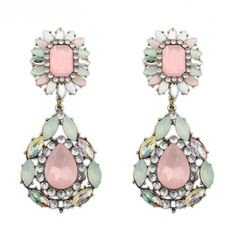 Buy Chic Gem Decorated Flower Water-drop Earrings with cheap price!