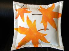 Autumn leaves pillow leaf painted orange  botanical by crabbychris, $38.00