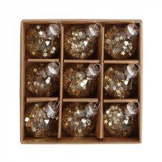 Mini glass star sequin baubles - box of 9 - Christmas Tree Decorations - Christmas Decorations - Christmas Shop