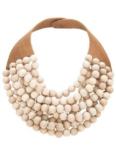Fashion: New York City Style. In Her Jewelry Box: a brown leather calf necklace with wood beads.