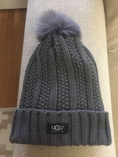 895b6ace1842e UGG Womens Solid Ribbed Knited Fleece Lined Beanie Hat With Pom Pom   fashion  clothing