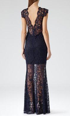 Reiss Ambrosia Floral Lace Eveningwear Maxi Dress in Midnight Blue