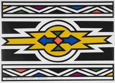 Esther Mahlangu African Artwork, African Art Paintings, Africa Symbol, Primary School Art, Afrique Art, African Crafts, Photo Mosaic, African Tribes, Arte Popular