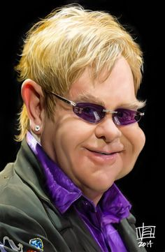 Caricatura de Elton John
