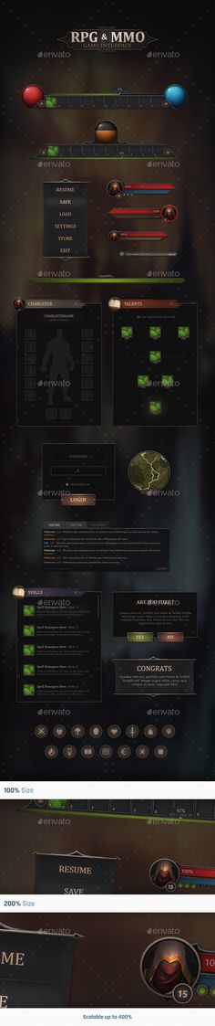 RPG & MMO Game User Interface An unique product designed for RPG and MMO projects, the style is clean and dark with some hand painted details. The product have most of the UI elements you will need for your project. The .psd files are well grouped and named for easy working and editing.    PSD Files (Includes seperated PSD Files) Properly named & grouped PSD file Hand Painted Details Scalable up to 400% (Vector) Slied images (Sliced at 200%) Hover & Press Effects More than 25 Unique Elements