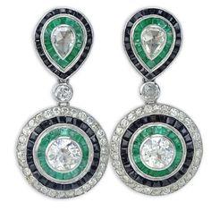 Pair of Art Deco Design Approx. Carat Rose Cut and Old European Cut Diamond, Emerald and Platinum Pendant Earrings – Kodner Galleries European Cut Diamonds, Selling Jewelry, Art Deco Design, Pendant Earrings, Jewelry Supplies, Jewelry Findings, Diamond Jewelry, Diamond Cuts, Antique Jewelry
