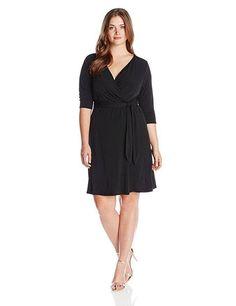 NY Collection Faux Wrap B-Slim Dress 3/4 Sleeve Black NWT Plus size 3X