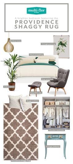 The Providence Shaggy Rug is sprucing up you sanctuary for spring. Size: x Neutral Bedding, Grey Bedding, Bamboo Lamp, Grey Armchair, Beige Cushions, Shaggy Rug, Grey And Beige, Geometric Designs, Indoor