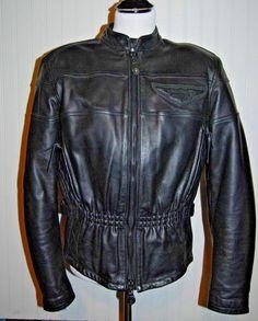 Harley Davidson Women's Medium Competition Black Leather Jacket  #HarleyDavidson