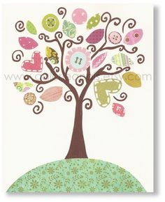 Nursery art prints, baby nursery decor, nursery wall art, nursery tree, kids tree, kids wall art, nursery print, Anais' Tree, 8x10. $14.00, via Etsy.