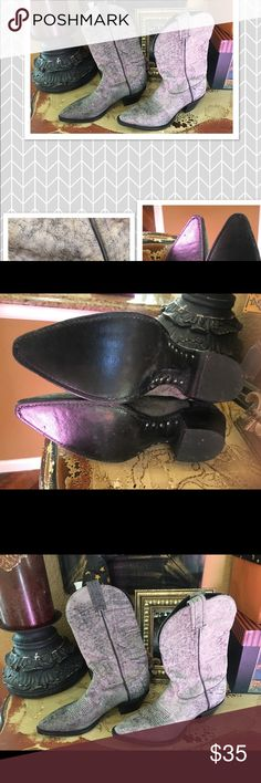 Tony Lama distressed grey black cowboy boots 5 Tony Lama distressed grey black cowboy boots 5 B excellent condition she wore maybe 2 Times ! Soft leather no trades price firm Tony Lama Shoes Boots
