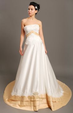 lindadress.com Offers High Quality Ivory And Gold Strapless Taffeta Wedding Dresses With Lace Applique,Priced At Only USD USD $220.00 (Free Shipping)