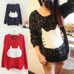 Knitting Cat Pattern Women Sweaters Jumpers Long Sleeve Pullovers Knitwear Tops #Unbranded #Sweatercoat