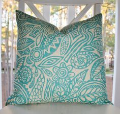 Decorative Designer Pillow - 16 x 16 Aqua Creme Geometric Pillow - Modern Floral Pillow - Teal Turqouise Pillow Cover -Throw Pillow
