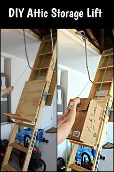 Need to store boxes in your attic? This DIY attic storage lift will help make th. Holz Handwerk , Need to store boxes in your attic? This DIY attic storage lift will help make th. Need to store boxes in your attic? This DIY attic storage lift wil. Attic Renovation, Attic Remodel, Garage Organization, Garage Storage, Garage Shelf, Roof Storage, Hanging Storage, Garage Shelving, Organization Ideas