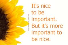 It's nice to be important. But it's more important to be nice.   #quotes
