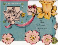 Vintage 1930s Art Deco Get Well Kitten Train by poshtottydesignz