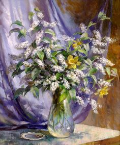 The artist Vjugovey Rimma Nikolaevna, a member of the Artists Union of Russia and International Federation of Artists. Flower Art, Peppermint, Decoupage, Glass Vase, Watercolor, Beautiful, Design, Home Decor, Flower Paintings