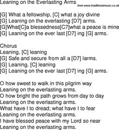 Old time song lyrics with guitar chords for Leaning On The Everlasting Arms G Guitar Chords And Lyrics, Guitar Chords For Songs, Bass Guitar Lessons, Guitar Sheet Music, Ukulele Songs, Ukulele Worship Songs, Music Sing, Worship Chords, Guitar Notes Chart