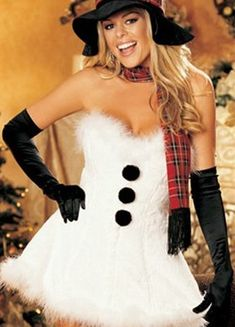 Sexy Christmas Snowman Costume White Strapless Christmas Lingerie Sleeveless Mini Skater Dress With Hat Halloween Sexy Christmas Outfit, Christmas Fancy Dress, Christmas Lingerie, Xmas, Tacky Christmas, Christmas Snowman, Christmas Ornaments, Grease Outfits, Sexy Halloween Costumes