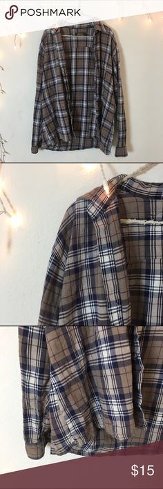 Grey Blue Vintage Flannel Perfect condition purple-gray, blue & white Flannel. Long oversized fit and ultra comfy. Bought from Brandy Melville vintage section, tag brand is high sierra. Best for women's medium Brandy Melville Tops Sweatshirts & Hoodies