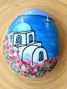 Hand Painted Stones,Greek Islands, sea, Home Decor,Painted Rock, Pebble, Acrylics, Summer Garden Decoration