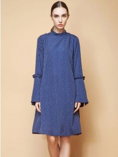 70f32f15860c Dark Blue Flare Sleeve Polka Dots Midi Dress