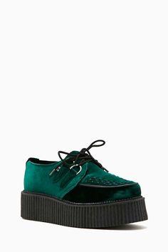 T.U.K. Mondo Velvet Creeper - Green - Sneakers