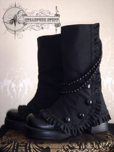 Chunky-heeled boots with steampunk spats