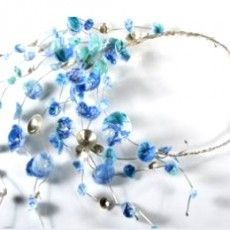 Anna Roebuck :: recycled plastic necklace :: Blue flower neckpiece :: Makers :: Bluecoat Display Centre
