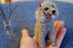 Needle Felted Poodle Dog, Wool Felt Grey Toy Poodle, Felted Animal, Mother's Day Gift, Blythe Accessory, Stocking Stuffer, Pet Portrait