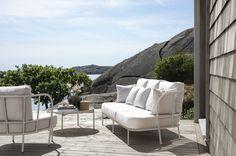 Skargaarden Salto Outdoor Sofa and Lounge Table Outdoor Fabric, Outdoor Sofa, Outdoor Spaces, Outdoor Furniture Sets, Outdoor Decor, Outdoor Art, Driftwood Frame, Danish Design Store, New Bedroom Design