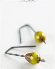 Oxidized Sterling Silver Green & Gold Glass Bead Earrings - Jewelry by Jason Stroud.