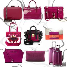 """Pantone 2014 color Radiant Orchid bags"" by ladywarrior on Polyvore"