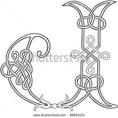 A Celtic Knot-work Capital Letter J Stylized Outline. Vector Version.