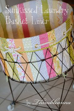 1 collapsible laundry basket liner tutorial--Love this idea--use a hatbox and a planter maybe?