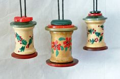 idea for ornament    Hand Painted Spool and Button Christmas Tree by heartfelthandiwork