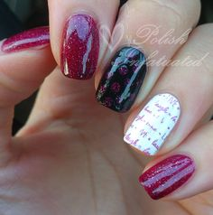 Pinky, index & thumb: Two coats of Picture Polish Monroe. Ring: Two coats of Ulta3 lily white and stamped with BM-405 and Monroe. Middle: Ulta3 black satin and dotted with Monroe.
