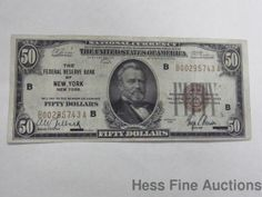 1929 National Federal Reserve Bank New York Fifty Dollar Currency Note $50