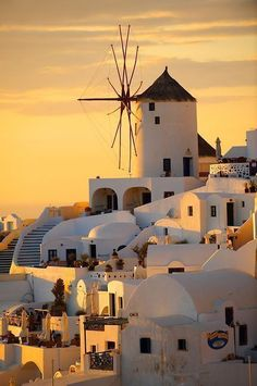 Oia ( Ia ) Santorini - Windmills and town at sunset, Greek Cyclades islands - Photos, pictures and images Santorini Island Greece, Oia Santorini, Crete Greece, Athens Greece, Beautiful Islands, Beautiful World, Beautiful Places, Travel Images, Travel Photos