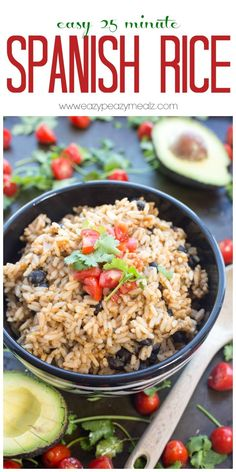 Easy 25 minute Spanish Rice perfect for accompanying burritos, tacos, and the like. - Eazy Peazy Mealz