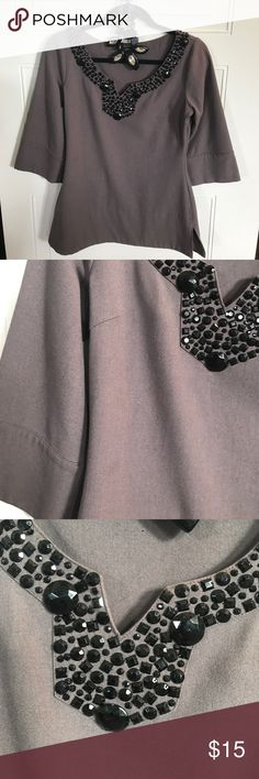 Charcoal BCBG Blouse size xs Gem Blouse Charcoal BCBG Blouse size xs Gem Blouse. Bling blouse. Beautiful blouse shoulder to shoulder 14 inches pit to pit 17 inches top of shoulder to bottom hem is 26 inches. BCBGMaxAzria Tops Tunics
