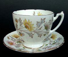 1950 s Fine Bone China Coalport Foley Somerset Pattern Tea Cup & Saucer in VGC
