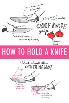 Learn the proper way to hold a knife and why it matters with this illustrated guide! [[MORE]]Illustrations via CakeSpy The proper chef's knife gripThe proper, go-to chef's knife grip goes a little...