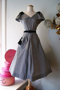Vintage Late 1940s Black and White Cotton Gingham Dress with Velvet Details by Meier and Frank