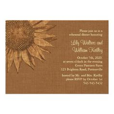 Autumn Wedding Ideas - A hand sketched sunflower on an illustrated burlap background accents this rehearsal dinner invitation for the fall wedding. Is is shown on the basic paper; however, I recommend the weight and texture of the linen paper. Fall Rehearsal Dinners, Rehearsal Dinner Invitations, Save The Date Invitations, Wedding Rehearsal, Wedding Invitations, Invitation Cards, Invites, Wedding Reception, Fall Wedding Cakes