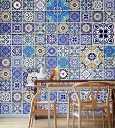 Talavera Traditional Tiles Blue (100 Tiles Decals) Tile Stickers - Tiles for Kitchen Backsplash or Tiles for Bathroom by Moon WallStickers