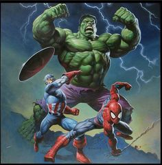 some of the greatest heroes of the marvel universe, including captain america, hulk, and the spiderman Comics Spiderman, Hulk Comic, Marvel Comics Art, Hulk Marvel, Batman, Marvel Heroes, Marvel Characters, Superman Hulk, Hulk 1