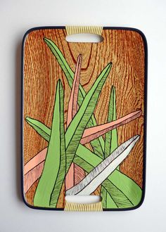 SALE REDUCED - Green, Pink & White stripy leaves on Wood Grain